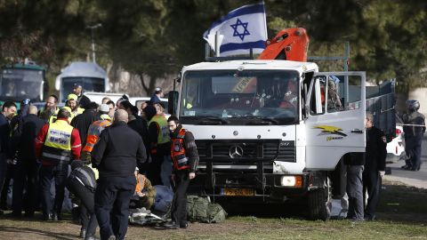 """A group of soldiers had gotten off a bus and were getting organized with their bags when """"the terrorist took the opportunity, ramming his truck into the group,"""" Israel Police spokesman Micky Rosenfeld said."""