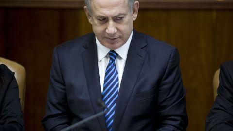 Israeli Prime Minister Benjamin Netanyahu chairs a weekly cabinet meeting on December 11, 2016.
