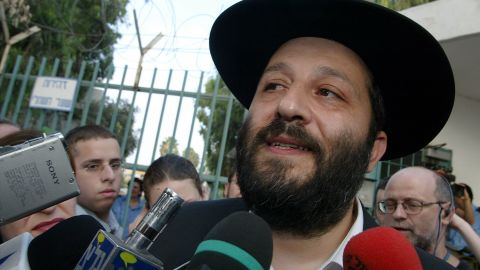 Former senior Israeli cabinet minister Aryeh Deri speaks after his release from Israel's Ma'asiyahu prison in 2002.