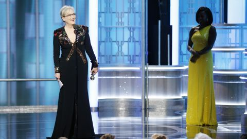 Meryl Streep accepts  Cecil B. DeMille Award  during the 74th Annual Golden Globe Awards.