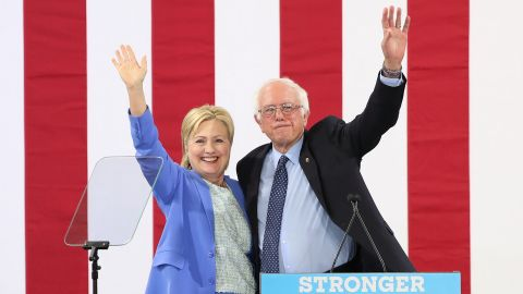 """Sanders <a href=""""http://www.cnn.com/2016/07/11/politics/hillary-clinton-bernie-sanders/"""" target=""""_blank"""">endorses</a> Clinton at a rally in Portsmouth, New Hampshire, in July 2016."""