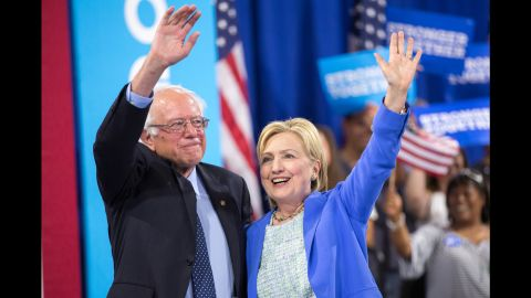After months of bitter campaigning, Sen. Bernie Sanders offered his long-awaited endorsement for Democratic presidential hopeful Hillary Clinton on July 12, 2016. (JUSTIN SAGLIO/AFP/Getty Images)