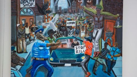 This photo shows the painting by high school student David Pulphus.