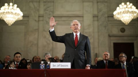 """US Sen. Jeff Sessions, Trump's nominee for attorney general, is sworn in during <a href=""""http://www.cnn.com/2017/01/10/politics/trump-cabinet-confirmation-hearings-live/index.html"""" target=""""_blank"""">his confirmation hearing in Washington </a>on Tuesday, January 10. Trump and his transition team are in the process of filling high-level positions for the new administration."""