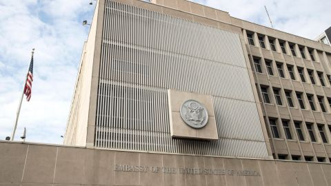 A picture taken on December 28, 2016 shows the US Embassy building in the Israeli coastal city of Tel Aviv.