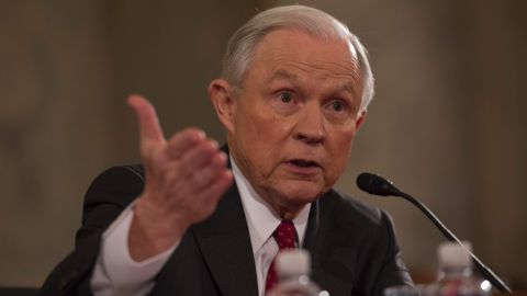 Sen. Jeff Sessions, R-AL, testifies during his confirmation hearing to be Attorney General of the US before the Senate Judiciary Committee on January 10, 2017, in Washington, DC.   / AFP PHOTO / MOLLY RILEYMOLLY RILEY/AFP/Getty Images