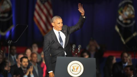President Barack Obama delivers a farewell speech to the nation on January 10, 2017 in Chicago, Illinois.