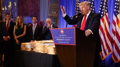President-elect Donald Trump speaks during a news conference in the lobby of Trump Tower in New York, Wednesday, January 11, 2017.