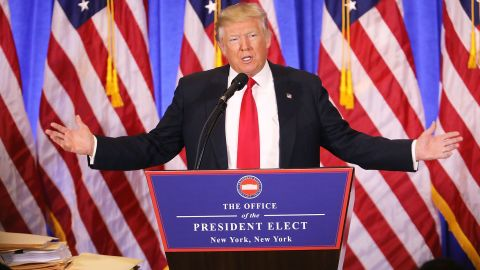 """Trump speaks at Trump Tower in New York on Wednesday, January 11. In <a href=""""http://www.cnn.com/2017/01/11/politics/donald-trump-press-conference-highlights/index.html"""" target=""""_blank"""">his first news conference since winning the election,</a> a combative Trump made clear he will not mute his style when he is inaugurated on January 20. He lashed out at media and political foes alike."""
