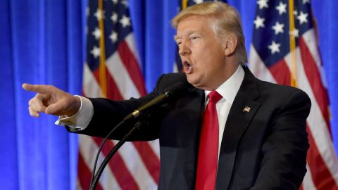 US President-elect Donald Trump speaks during a press conference January 11, 2017 at Trump Tower in New York. Trump held his first news conference in nearly six months Wednesday, amid explosive allegations over his ties to Russia, a little more than a week before his inauguration. / AFP / TIMOTHY A. CLARY        (Photo credit should read TIMOTHY A. CLARY/AFP/Getty Images)