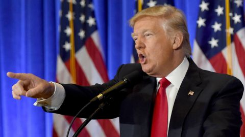 President-elect Donald Trump speaks during a press conference January 11, 2017 at Trump Tower in New York.