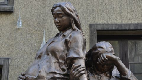 """Other memorials to """"comfort women"""" also exist around the world, including this statue in Shanghai, China."""