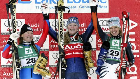Lindsey Kildow -- as she was then before marrying fellow skier Thomas Vonn -- won her first World Cup race with victory in the downhill at Lake Louise, Canada, in 2004.