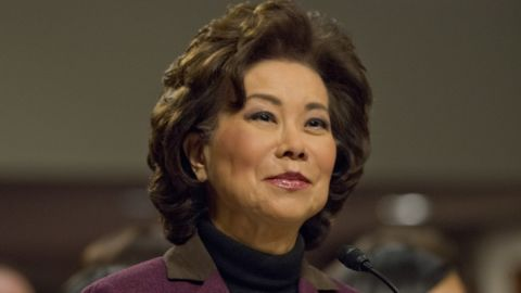 """Chao testifies at <a href=""""http://www.cnn.com/2017/01/11/politics/elaine-chao-transportation-secretary-hearing/index.html"""" target=""""_blank"""">her confirmation hearing</a> in January. Chao, who was approved by a 93-6 vote, was deputy secretary of transportation under George H.W. Bush and labor secretary under George W. Bush."""