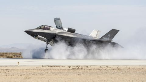 140610-N-ZZ999-001FORT WORTH, Texas (July 30, 2014) The Lockheed Martin F-35B Joint Strike Fighter completes a required wet runway and crosswind testing at Edwards Air Force Base, Calif., an important program milestone enabling U.S. Marines Corps initial operational capability certification. (U.S. Navy photo/Released)