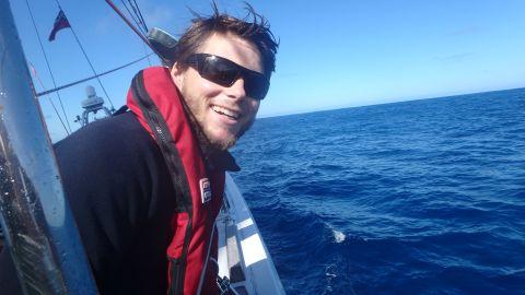 Gavin Reid smiling on board during the Clipper Race