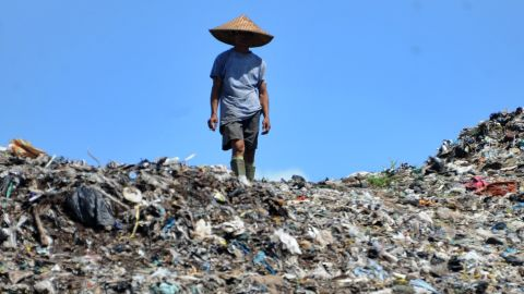 Garbage dump in Bali, Indonesia. The island has earned a reputation as a tourist paradise but has suffered with high levels of plastic pollution.
