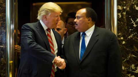 US President-elect Donald Trump shakes hands with Martin Luther King III after meeting at Trump Tower in New York City on January 16, 2017.  The eldest son of American civil rights icon Martin Luther King Jr. met with US President-elect on the national holiday observed in remembrance of his late father. / AFP PHOTO / DOMINICK REUTERDOMINICK REUTER/AFP/Getty Images