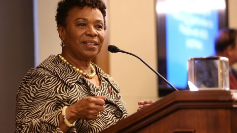 Rep. Barbara Lee (D-CA) accepts the Elizabeth Taylor Legislative Leadership Award at the AIDSWatch 2016 Positive Leadership Award Reception at the Rayburn House Office Building on February 29, 2016 in Washington, DC.
