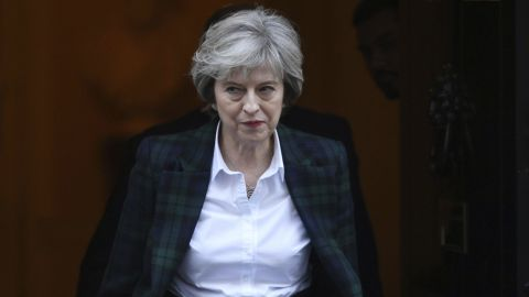 """Prime Minister Theresa May leaving Downing Street in London, ahead of her speech on Brexit Tuesday Jan. 17, 2017. May is to give further details of her plans for Brexit in a speech in which she will declare she does not want an outcome which leaves the UK """"half-in, half-out"""" of the European Union. (Stefan Rousseau/PA via AP)"""
