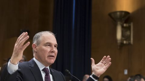 """Pruitt testifies at <a href=""""http://www.cnn.com/2017/01/18/politics/scott-pruitt-epa-hearing/"""" target=""""_blank"""">his confirmation hearing</a> in January. Pruitt said he doesn't believe climate change is a hoax, but he didn't indicate he would take swift action to address environmental issues that may contribute to climate change. He said there is still debate over how to respond."""
