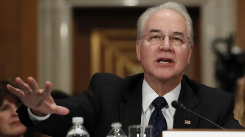 """Price testifies at his confirmation hearing in January. Price <a href=""""http://www.cnn.com/2017/01/24/politics/tom-price-nomination-hearing-finance/"""" target=""""_blank"""">confronted accusations</a> of investing in companies related to his legislative work in Congress -- and in some cases, repealing financial benefits from those investments. Price firmly denied any wrongdoing and insisted that he has taken steps to avoid any conflicts of interests."""