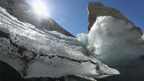 GINZLING, AUSTRIA - AUGUST 26:  Large chunks of ice stand melting in the sun near the foot of the Hornkees glacier on August 26, 2016 near Ginzling, Austria. The Hornkees, which once filled the basin with ice at least 30 meters deep, has the unfortunate distinction of having shrunk in length in 2015 by 136 meters, which is the most of all the 92 glaciers in the eastern Alps under scientific observation. While glaciers across Europe have been receding since approximately the 1870s, the process has accelerated since the early 1980s, a phenomenon many scientists attribute to global warming. The European Enivironmental Agency predicts the volume of European glaciers will decline by between 22% and 89% by 2100, depending on the future intensity of greenhouse gases.  (Photo by Sean Gallup/Getty Images)