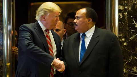 """President-elect Donald Trump shakes hands with Martin Luther King III <a href=""""http://www.cnn.com/2017/01/16/politics/donald-trump-martin-luther-king-day/"""" target=""""_blank"""">after they met at Trump Tower</a> in New York on Monday, January 16. Afterward, King said the meeting was """"constructive"""" and that the two discussed the importance of voting accessibility. Trump didn't speak to the media about the meeting."""