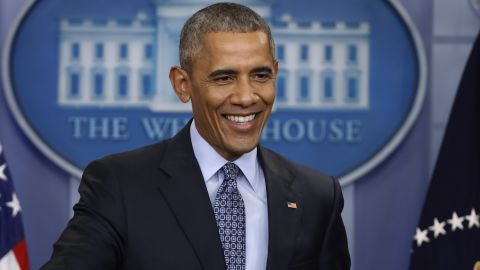 President Barack Obama smiles during his final presidential news conference, Wednesday, Jan. 18, 2017, in the briefing room of the White House in Washington. (AP Photo/Pablo Martinez Monsivais)