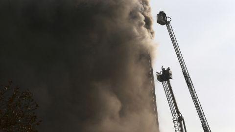 Fire crews attempt to extinguish the blaze.