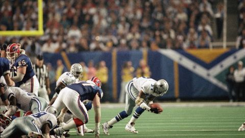 James Washington of the Dallas Cowboys recovers the football after a fumble by the Buffalo Bills' Thurman Thomas during Super Bowl XXVIII at the Georgia Dome in January 1994. The Cowboys went on to defeat the Bills 30-13.