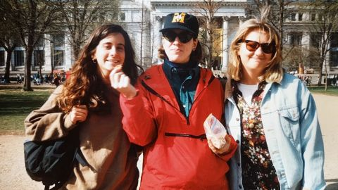 """Lisa Levine, Jessica Sisto and Jennifer """"Penny"""" Martinand at the 1992 women's rights march in D.C."""