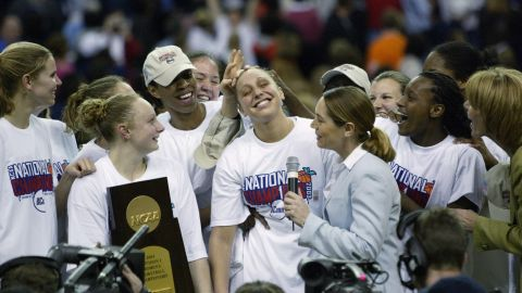 Connecticut's Diana Taurasi celebrates with her teammates after they won the NCAA women's basketball championship game in April 2003. UConn defeated Tennessee 73-68.