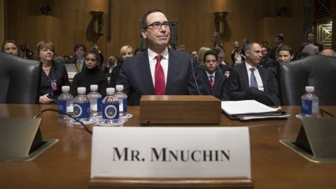 """Mnuchin arrives for his confirmation hearing in January. Mnuchin, a former Goldman Sachs banker, <a href=""""http://money.cnn.com/2017/01/19/news/economy/mnuchin-treasury-confirmation-hearing/index.html"""" target=""""_blank"""">faced policy questions</a> about taxes, the debt ceiling and banking regulation."""