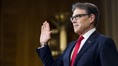 """Perry is sworn in before his confirmation hearing in January. <a href=""""http://www.cnn.com/2017/01/19/politics/rick-perry-hearing-energy-department/index.html"""" target=""""_blank"""">During his testimony,</a> Perry cast himself as an advocate for a range of energy sources, noting that he presided over the nation's leading energy-producing state. He also said he regrets once calling for the Energy Department's elimination."""