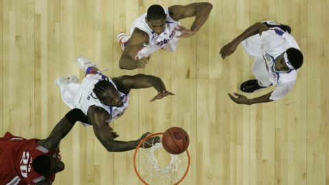 Ohio State center Greg Oden and Florida's Chris Richard, from left, Al Horford and Corey Brewer wait for a rebound in the NCAA men's basketball championship game in April 2007. Florida won the national title 84-75.