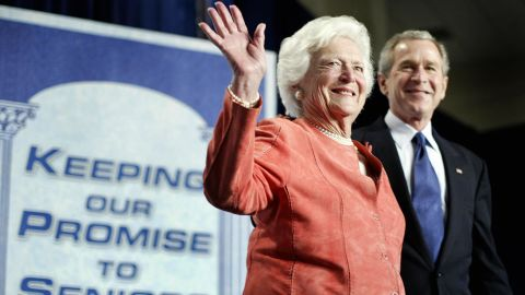 ORLANDO, UNITED STATES:  Former US first lady Barbara Bush waves after being introduced by her son US President George W. Bush at a meeting to promote his Social Security reform plan in Orlando, Florida, 18 March 2005. Bush called on his mother to help defend his embattled plan to partly privatize the government-run retirement program, which he has made a chief goal of the second four-year term he won in November. Even members of his own Republican party in the US Congress, where they enjoy a majority in both the House of Representatives and the Senate, have expressed skepticism about his proposal to let people divert some of their Social Security taxes into private accounts.