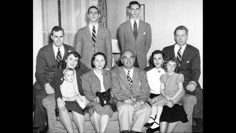 This family portrait was taken around 1948 in New Haven, Connecticut. Pictured are Barbara Bush's husband, brothers, parents and sister, along with her sister's family.