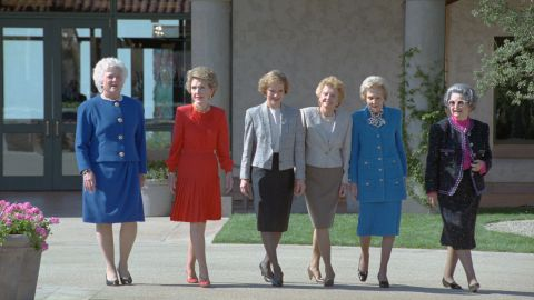 Six former first ladies take a stroll through the courtyard of the Ronald Reagan Presidential Library. Pictured from left are Bush, Nancy Reagan, Rosalynn Carter, Betty Ford, Pat Nixon and Lady Bird Johnson.
