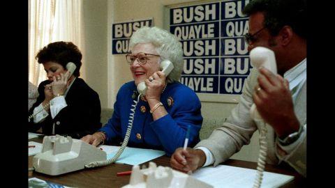 Bush makes campaign calls at a phone bank in Colorado Springs, Colorado, on February 2, 1992.