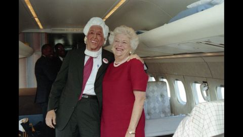 Barbara Bush campaigns with her son, Marvin, who is wearing a Barbara Bush mask on October 27, 1992.