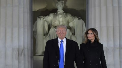 President-elect Donald Trump and his wife Melania arrive to attend an inauguration concert at the Lincoln Memorial in Washington, DC, on January 19, 2017.