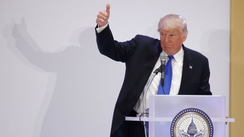 President-elect Donald Trump gives a thumbs-up as he speaks during the Leadership Luncheon at Trump International in Washington, Thursday, Jan. 19, 2017. (AP Photo/Evan Vucci)