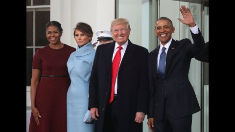 President-elect Donald Trump and his wife Melania are greeted by President Barack Obama and his wife Michelle Obama upon arriving at the White House on Inauguration Day, January 20.