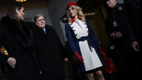 Donald Trump's White House Director of Strategic Communications Hope Hicks, Senior Counselor Steve Bannon and Counselor to the President Kellyanne Conway arrive for the presidential inauguration on the West Front of the U.S. Capitol on January 20, 2017 in Washington, DC.