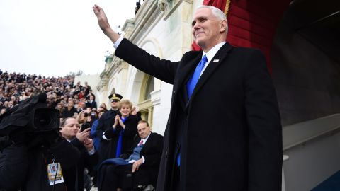 Pence arrives for Trump's inauguration in January 2017.