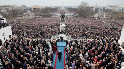 Trump arrives on the West Front of the Capitol to be sworn in.