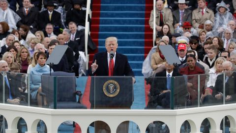 President Trump delivers his inaugural address after being sworn in as the 45th President of the United States on Friday, January 20.