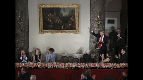 President Trump waves to Hillary Clinton, whom he defeated in the election, during his speech at the inaugural luncheon. He was sworn in as the 45th President of the United States on Friday, January 20.