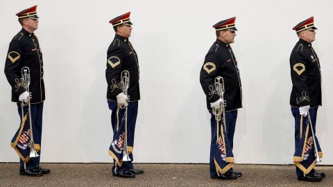 Members of a military band line up prior to marching in the Presidential Inaugural Parade.